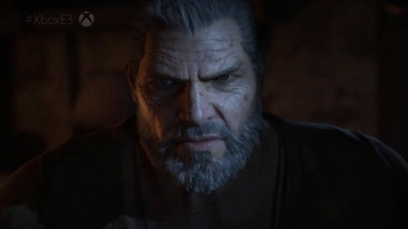 Marcus Fenix de Gears of War na conferência da Microsoft na E3 2016.